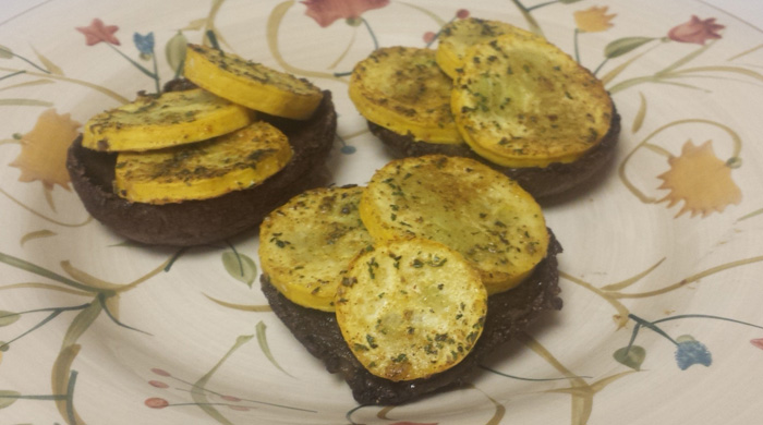 Cajun Oven Roasted Whole Portabella Mushroom And Yellow Squash