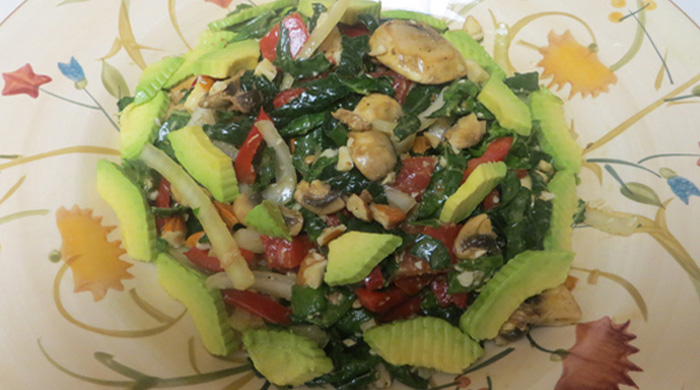 Kale, Spinach, Mushroom, Almond, Avocado Salad Recipe